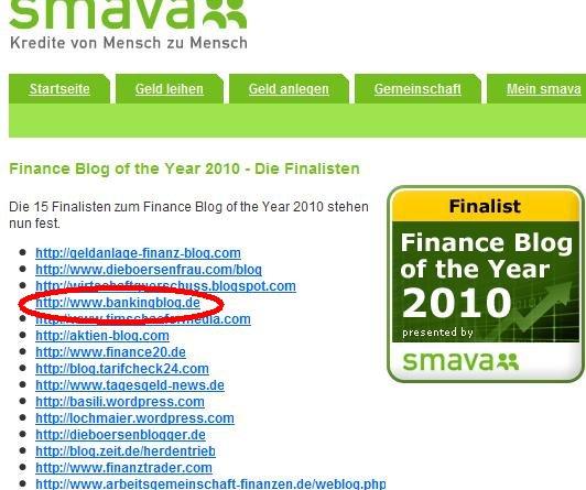 Finanzblog des Jahres 2010